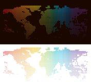 Rainbow halftone world map Royalty Free Stock Image