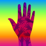 Rainbow hand. Vector ilustration of one big hand with many hands inside on rainbow background symbolizing help, support, freedom, friendship, team, unity or gay Royalty Free Illustration