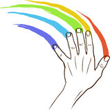 Rainbow hand Stock Photography
