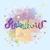 Rainbow hand drawn lettering as logotype, badge, icon  on pastel colors background. Template for party, happy birthday card, invitation, flyers, baby birth Royalty Free Stock Photo