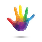 Rainbow Hand Print Stock Photo