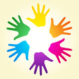 Rainbow hands. Vector illustration of colorful rainbow ring of hands can means diverse community (LGBT - for gay, lesbian, bisexual or transgender relationship Stock Photo