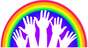 Rainbow Hands. Illustration of raised hands against a rainbow background Royalty Free Stock Photo