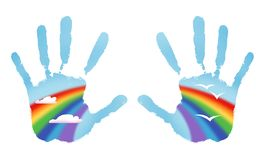 Rainbow hands Stock Image