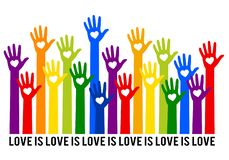 Rainbow hands with hearts, love is love, vector illustration royalty free stock image