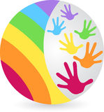 Rainbow hands logo Stock Photography