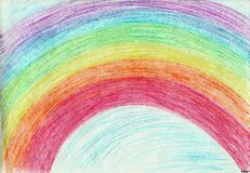 The rainbow of happiness. The picture is made with wax crayons on paper. The image size is about A4 Royalty Free Stock Images