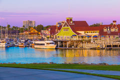 Rainbow Harbor with Shoreline Village at dusk, Long Beach , CA  (P) Stock Images
