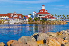 Rainbow Harbor with Shoreline Village at Long Beach , CA Stock Photo