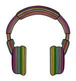 Rainbow headphones. Styled rainbow headphones, illustration stock illustration