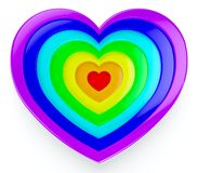 Rainbow heart. 3d visualization of rainbow heart on white background Royalty Free Stock Image