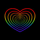 Rainbow Heart. Isolated concentric hearts on black background. Vector illustration Royalty Free Stock Images