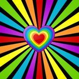 Rainbow heart background. stock illustration
