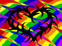 Rainbow heart. Rainbow background with barbed wire shaped heart Stock Photography