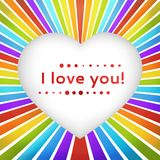 Rainbow heart background with declaration of love. Royalty Free Stock Photography
