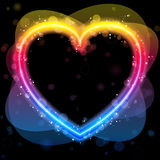Rainbow Heart Border with Sparkles Stock Image