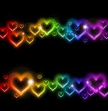 Rainbow Heart Border with Sparkles. Vector Royalty Free Stock Image