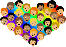 Rainbow Heart Children/ai vector illustration