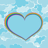 Rainbow heart in clouds Stock Image