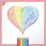 Rainbow Heart With Color Pencils Royalty Free Stock Images