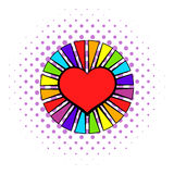 Rainbow heart with color rays icon, comics style Royalty Free Stock Photo