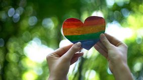 Rainbow heart in female hands, LGBT flag, recognition of sexual minorities right. Stock photo royalty free stock photos