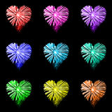 Rainbow heart fireworks. Rainbow heart shaped fireworks on black background Royalty Free Stock Image