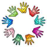 Rainbow heart hands. Vector illustration of colorful rainbow ring of hands with heart symbol inside Stock Images