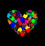 Rainbow heart icon made of multicolored hand prints. Isolated on black background. Vector illustration, logo, clip art. Symbol of childhood, multicultural Stock Photography