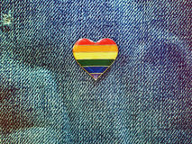 Rainbow heart on a jeans background Stock Photo