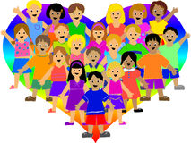 Rainbow Heart Kids/eps royalty free illustration