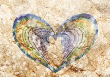 Rainbow heart lovely background texture stock image