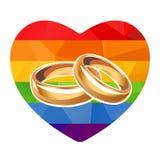 Rainbow heart and rings Stock Photo