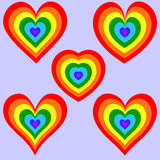Rainbow Heart set Royalty Free Stock Photos
