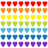 Rainbow heart set. Gay flag color. Seamless Pattern. Wrapping paper, textile template. Lgbt sign symbol. White background. Isolate Royalty Free Stock Photography