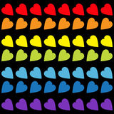 Rainbow heart set. Seamless Pattern. Wrapping paper, textile template. Lgbt sign symbol. Gay flag color. Black background. Isolate Stock Image