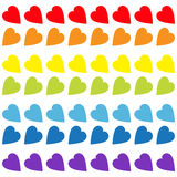 Rainbow heart set. Seamless Pattern. Wrapping paper, textile template. Lgbt sign symbol. Gay flag color. White background. Isolate stock illustration