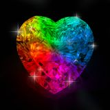 Rainbow heart shape diamond Stock Images