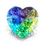 Rainbow heart shape diamond. Beautiful shape emerald image with reflective surface. Render brilliant jewelry stock image.