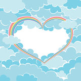 Rainbow heart in the sky Stock Images