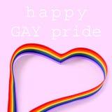 Rainbow heart and text happy gay pride day Royalty Free Stock Photos
