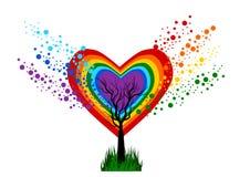 Rainbow Heart Tree Royalty Free Stock Image