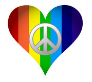 Rainbow hearth with peace sign Stock Photos