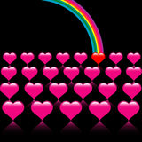 Rainbow hearts Stock Image