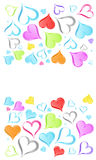 Rainbow hearts background. Vector illustration of a funky rainbow colored hearts design background Stock Images