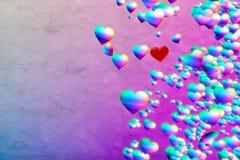 Rainbow Hearts background. Rainbow Hearts over pink blue grunge background Stock Photo