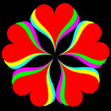Rainbow Hearts on black. Rainbow Colored heart flower, on black background Royalty Free Stock Image