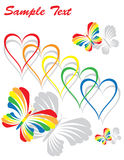 Rainbow Hearts and Butterflies Stock Photos