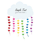 Rainbow hearts with clouds vector greeting card Stock Photos