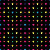 Rainbow hearts in a diamond pattern on black Stock Photo